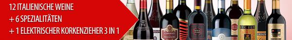 12 Italienische Weine + 6 spezialitaten + 1 elektrischer korkenzieher 3 in 1