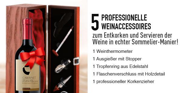 5 PROFESSIONELLE WEINACCESSOIRES ZUM ENTKORKEN UND SERVIEREN DER WEINE IN ECHTER SOMMELIER-MANIER! 1 WEINTHERMOMETER 1 AUSGIEßERMIT STOPPER 1 TROPFENRING AUS EDELSTAHL 1 FLASCHENVERSCHLUSS MIT HOLZDETAIL 1 PROFESSIONELLER KORKENZIEHER