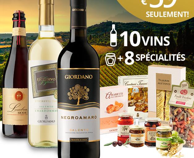 OFFRE 59 EUR SEULEMENT! 10 VINS +8 SPÉCIALITÉS
