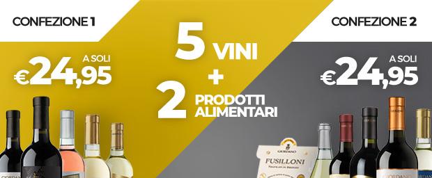 5 vini + 2 prodotti alimentari